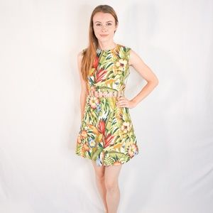 Vintage 90s Jungle Flora Fauna Mini Dress Peek A B